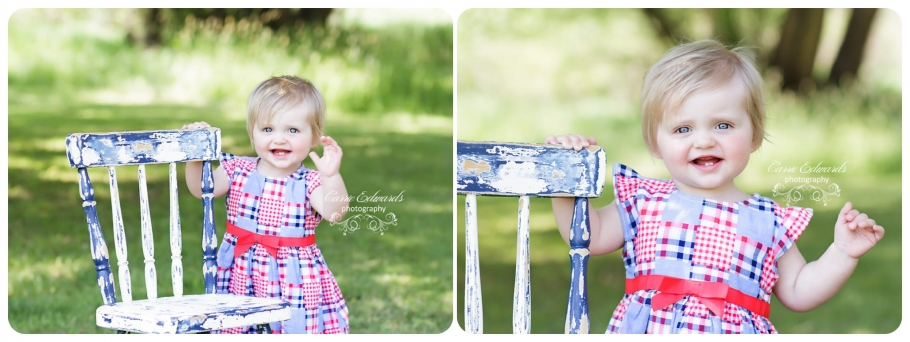 Evergreen Cake Smash Session, 1 year session, 1 year cake smash session, Evergreen Photographer, Evergreen Cake smash session, outdoor photography session, girl with blue chair